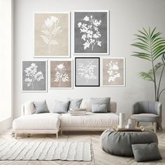 Rustic Farmhouse Wall Art, Light Tan and Gray Print, Watercolor Flowers Wall Decor, Botanical Print Set of 6