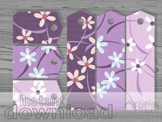 Purple Flowers Gift Tags Set of 6 - #printable