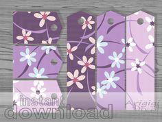Purple Flowers Gift Tags Set of 6 - #printable
