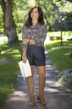 """WHO WEARS SHORT SHORTS? I often hear people debating whether """"older"""" women should wear shorts. I am not sure I agree that there is a """"certain age"""" at which one should quit. I, myself, like shorts on warm days, but I do. Older Women Fashion, Fashion For Women Over 40, Fashion Over, Womens Fashion, Fashion Black, Cheap Fashion, Short Outfits, New Outfits, Preppy Fall"""