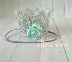 "MINI ""Elsa"" FROZEN ispired floral crown- headband -photo prop -Princess -First Birthday -Boho -Shabby Chic Headband -Newborn on Etsy, $12.00"