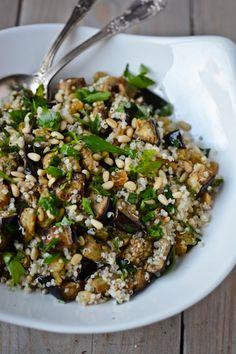 Roasted eggplant, quinoa and pine nut salad