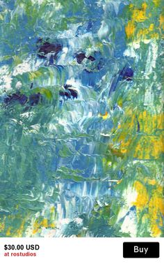 Acrylic Fine Art Original Painting - Abstract Waterfall in white double mat
