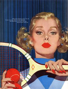 """""""Well, you're certainly out early,"""" she said. It came to me then that it was the backboard that had got her out of bed at that hour — and not the new tennis pro. - Artist: Jon Whitcomb (American illustrator, 1906 - 1988)"""
