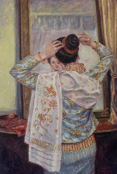 Lao Dress Painting - Sheer Elegance II by Sompaseuth Chounlamany I Love Mirrors, Thailand Art, Dress Painting, Thai Traditional Dress, Thai Art, Drawing Clothes, Pattern Art, Asian Art, Fine Art America