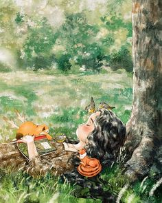 I have slept in the forest many time, in the forest dreams are magical and some very good. Forest Girl, Korean Art, Anime Scenery, Illustration Girl, Anime Art Girl, Cute Drawings, Cute Wallpapers, Cute Art, Watercolor Art