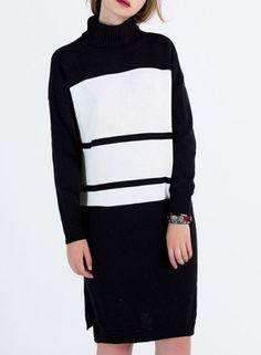 color blocked turtleneck dress  $23.66  health goth minimal goth cyber goth fachin dress top under30 rosegal free shipping