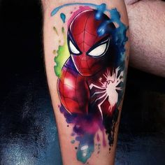 Spiderman from Marvel Comics, perfect color tattoo work by tattoo artist Vinni Mattoos Ironman Tattoo, Spiderman Tattoo, Avengers Tattoo, Marvel Tattoos, Star Tattoos, Body Art Tattoos, Sleeve Tattoos, Cool Forearm Tattoos, Badass Tattoos