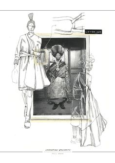 Re-constructing Heritage Fashion Sketchbook - fashion illustrations; Mise En Page Portfolio Mode, Mode Portfolio Layout, Fashion Portfolio Layout, Fashion Design Sketchbook, Fashion Sketches, Fashion Illustration Collage, Illustration Mode, Fashion Collage, Fashion Illustrations
