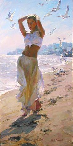 A Walk on the Beach - by Michael and Inessa Garmash. #SeaPainting #ArtWork