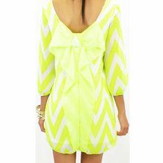 Hot Bow Neon Yellow Dress #bow #neon #dress www.loveitsomuch.com