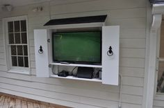 Striking Outdoor Cabinet for Television with Old Iron Ring Pulls also External Cable Tv Tuner