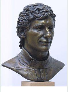 Life size bronze portrait of Ayrton Senna by Alison Bell.