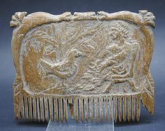 RARE and Beautiful Ancient Roman Ox Carved Decorated Hair Comb | eBay