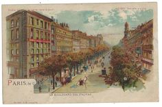 Paris, Blvd des Italiens Hold-to-Light / Meteor No. 641. Old litho postcard 1906