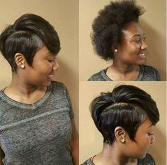 Wow - Black Hair Information Community Girl Short Hair, Short Hair Cuts, Short Hair Styles, Natural Hair Styles, Pixie Styles, Natural Beauty, American Hairstyles, Black Girls Hairstyles, Pretty Hairstyles