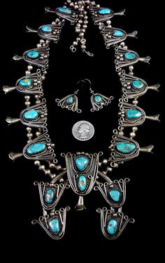 Museum Quality 337 Vintage Navajo Sterling Silver Squash Blossom Necklace & Dangle Earring Set w Bright Morenci Turquoise! Gems Jewelry, Ethnic Jewelry, Indian Jewelry, Silver Jewelry, Vintage Jewelry, Jewellery, Squash Blossom Necklace, Family Jewels, Southwestern Style