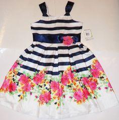 NEW Bonnie Jean Navy Blue White Floral Flower Sleeveless Easter Dress Girls 12 #BonnieJean #DressyHolidayPageantPartyWedding