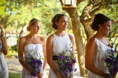 Be still my wild heart! This Austin wedding by Hyde Park Photography packs a pretty punch and is just bursting with so many personal touches that are sure to make you swoon. Mismatched Bridesmaid Dresses, Bridesmaid Flowers, Wedding Bridesmaid Dresses, Brides And Bridesmaids, Bridal Dresses, Wedding Bouquets, Wedding Flowers, Purple Wedding, Wedding Colors