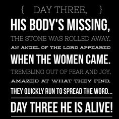 ...JESUS IS ALIVE!! day one, the hill ran crimson red with blood that cleansed all sin. day two, reminds us to keep the faith when the doubt sets in. oh, what a difference one day makes, from death to victory. the cross became an empty grave on day three!...but here's the rest of the story, he's coming again! just because he was crucified doesn't mean that's the end. although he was buried, on the third day he proved his power still reigns! so here's the rest of the story...he's coming…