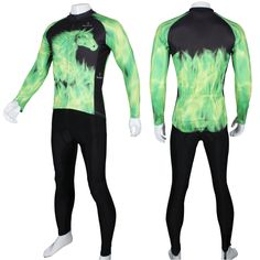 26.20$  Buy here - http://ai171.worlditems.win/all/product.php?id=32256100786 - New Green flame Ghost Horse Men Long sleeve Cycling Jersey Polyester Bicycle Apparel Black Breathable Cycling Clothes Size S-6XL