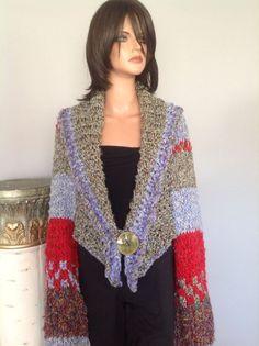 Shrug Sweater Shawl Hand Knit Designer Fashion Hip Chic Rustic Romantic Women  #HANDKNITS2LOVEMy4SeasonHandKnits #ShrugSweaterShawlWrap