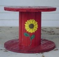 Wooden Cable Spool Garden Table - Repainted with Floral Motif