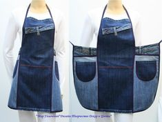 74 Awesome DIY ideas to recycle old jeans Denim Bag Patterns, Jean Apron, Cute Aprons, Denim Ideas, Denim Crafts, Sewing Aprons, Couture Sewing, Old Jeans, Recycled Denim