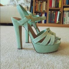 Steve Madden Mint Heels Worn once (don't match my wardrobe), perfect condition, mint colored, in original box! Steve Madden Shoes Sandals