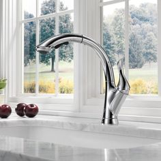 Delta Linden Pull Down Touch Single Handle Kitchen Faucet with Diamond Seal Technology Finish: Chrome Pull Out Faucet, Pull Out Kitchen Faucet, Kitchen Pulls, Kitchen Sink Faucets, Kitchen Handles, Kitchen Redo, Kitchen Appliances, Lotion, Water Efficiency