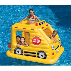 Beep, beep! This inflatable school bus is the perfect back-to-school swimming pool toy to surprise the kids with!
