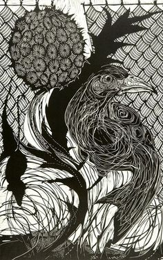 dale clifford--linocut...the cutting in the bird makes me happy...Must try this technique