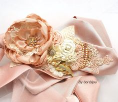 Hey, I found this really awesome Etsy listing at https://www.etsy.com/listing/178252003/bridal-sash-in-blush-ivory-and-gold-with