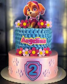 Bolo patrulha canina Pastel Paw Patrol, Sky Paw Patrol, Paw Patrol Cake, Paw Patrol Party, Second Birthday Cakes, Birthday Cake Girls, Paw Patrol Birthday Theme, Party Labels, Disney Cakes