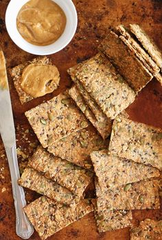 Ultimate 5 Seed Crackers (not GF) Healthy Crackers, Homemade Crackers, Savory Snacks, Healthy Snacks, Crack Crackers, Seed Crackers Recipe, Artisan Crackers Recipe, Savoury Biscuits, Vegan Recipes