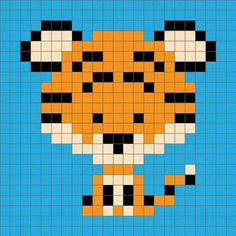 Cross Stitch Charts Zoodiacs tiger graph - Introducing my Zoodiacs, a collection of Chinese zodiac animals in a graph design, perfect for or graphghan crochet. First up is the Zoodiacs Tiger! Crochet Pixel, Crochet C2c, Tapestry Crochet, Crochet Chart, Baby Blanket Crochet, Crochet Baby, Cross Stitching, Cross Stitch Embroidery, Cross Stitch Patterns