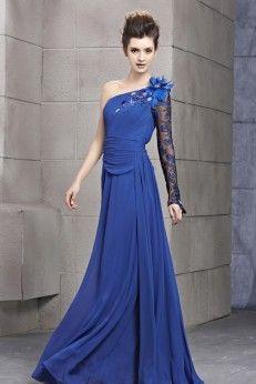 Robe de soirée une manche bleue drappée avec ornement