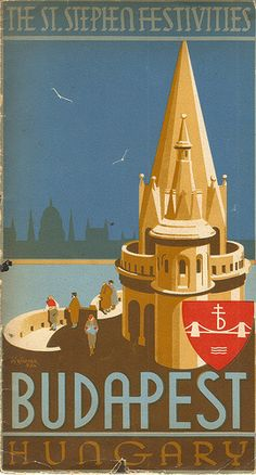 I've some lovely examples of inter-war publicity and packaging from Hungary - I think we tend to forget that the country's graphic design industry was well-developed and produced some fine examples of eye-catching design. This tourist leaflet from 1934 is by I G F Richter and shows a moonlit Budapest from the towers.