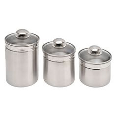Vitantonio 18 10 Stainless Steel 3 Piece Canister Set