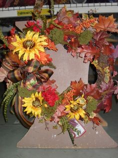 Fall wreath with Sunflowers By Kathy @ Michaels 1541