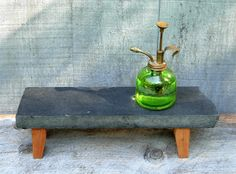 Etsy, Small Reclaimed Stone and Wood Plant Stand  by TurtlewoodDesigns, $28.00