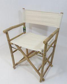 Set Of 2 Bamboo Director Chairs, Choice Of Black Or White Canvas, 23u201dw X  19u201dd X 35u201dh, BDC 36 2 Series