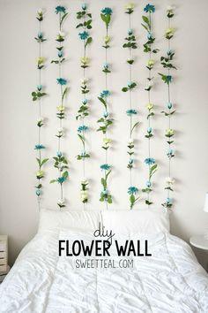 DIY Flower Wall Headboard Tutorial. #diy #headboard #cheapheadboard…