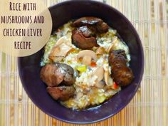 Rice with mushrooms and chicken liver #recipe  #food #cooking #chicken #chickenliver #chickenrecipes
