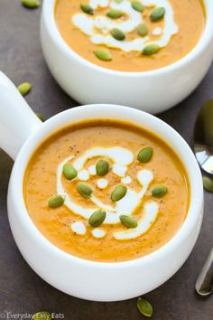 Easy Curried Pumpkin Coconut Soup Recipe | EverydayEasyEats.com