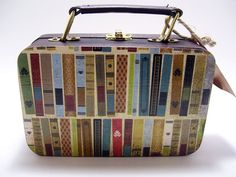 Decoupaged Wooden Mini Suitcase Books Library by tatteredpearls