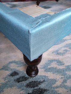DIY Ottoman: How to Make a Tufted Ottoman with Wood Legs.love fabric ottomans which is why I have pinned so many! Diy Storage Ottoman Coffee Table, Upholstered Coffee Tables, Diy Ottoman, Fabric Ottoman, Upholstered Ottoman, Furniture Update, Refurbished Furniture, Furniture Projects, Furniture Makeover