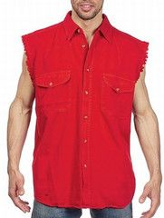 3x Designer Men's Clothes Mens Red Cut Off Sleeveless