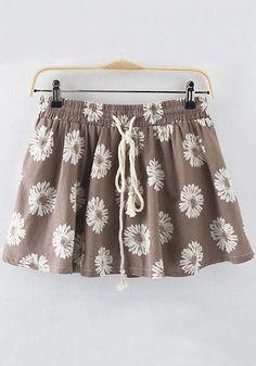 Coffee Floral Drawstring Waist Wrap Cotton Skirt