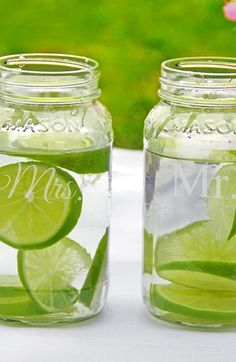 Mr & Mrs etched mason jars - perfect for the mason loving couple to use at their wedding, or a great gift idea